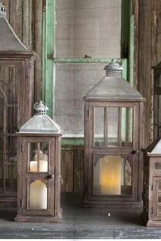 Set of Two Cottage Window Lanterns ~Candle Holders ~Pottery Barn Style