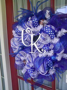 Kentucky Wildcat Fan Deco Mesh Door Wreath.