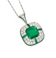 PLATINUM, EMERALD AND DIAMOND PENDANT-BROOCH AND CHAIN, MARCUS & CO.
