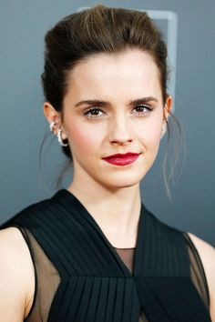 Emma Watson pulled her brunette locks into an elegant updo at the Beauty and the Beast New York premiere.