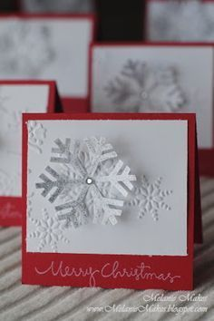 handmade Christmas card from Melanie Makes . white panel with die cut snowflake mounted with raised points . simple and sweet . Christmas Party Favors, Homemade Christmas Cards, Christmas Cards To Make, Christmas Paper, Xmas Cards, Christmas Greetings, Homemade Cards, Holiday Cards, Handmade Christmas