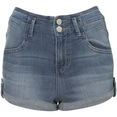 MOTO High Waist Denim Hotpants ($64) ❤ liked on Polyvore featuring shorts, bottoms, topshop, color, high-waisted denim shorts, denim hot pants, high rise shorts, denim short shorts and high waisted hot shorts
