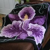 Orchid Single Crochet Afghan - via @Craftsy  Must have been a massive effort with either intarsia or surface cross stitch!