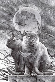 Daniel Grzeszkiewicz. cat art, felin, dark art, fat cats, danielgrzeszkiewicz, kitti, cat draw, daniel grzeszkiewicz, dreami illustr