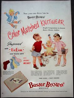 Vintage Buster Brown Knitwear children's clothing ad, 1950.