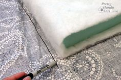 """wrapping 3"""" foam with batting to make a bench cusion- maybe do a layer of foam on each side of a spring unti and then wrap in battining for pallet seating? Draw_around_cushion_sharpie"""