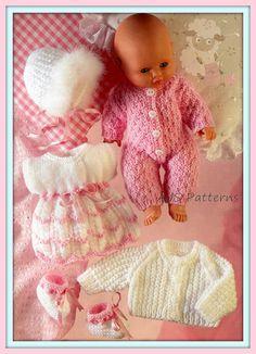PDF Knitting Pattern Assorted Baby Dolls Clothes Set to Fit image 0 Knitting Dolls Clothes, Baby Doll Clothes, Knitted Dolls, Doll Clothes Patterns, Doll Patterns, Baby Dolls, Dress Patterns, Knitting Patterns, Pattern Dress
