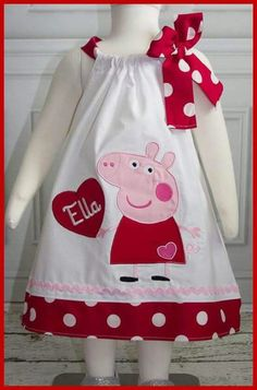 New Super Cute Peppa Pig Personalized Valentine Dress Little Girl Dresses, Girls Dresses, Peppa Pig, Sewing For Kids, Baby Dress, Kids Outfits, Creations, Clothes, Pig Party