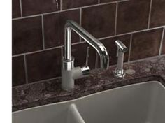 PURUS I with sidespray in Truffle SILGRANIT II. Don't be afraid to accent a faucet to match the sink