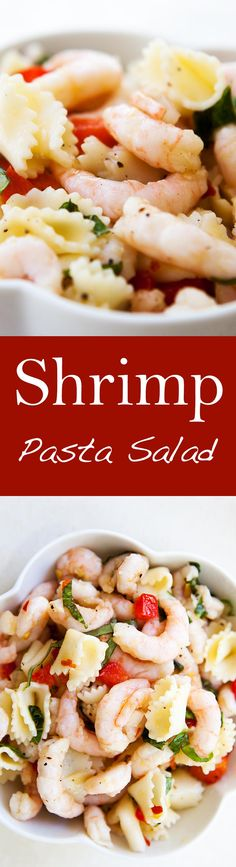 Easy! Takes only 20 minutes to make. Simple shrimp and pasta salad with bell pepper, red onion, garlic, basil, lemon vinaigrette. Everyone LOVES this! On SimplyRecipes.com