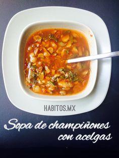 Una deliciosa sopa de champiñones con acelga ..