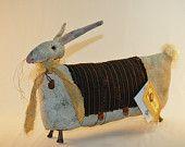 Primitive Folk Art DOLL BUNNY Rabbit Spring Easter
