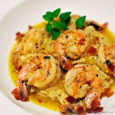 Lemon Garlic Shrimp over Cauliflower Mash