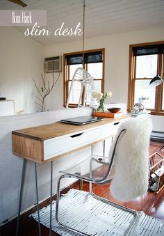 Really love this idea. Not sure about the slim part though… // Ikea Hack Slim Desk Really love this idea. Not sure about the slim part though… // Ikea Hack Slim Desk Slim Desks, Ikea Desk Hack, Ikea Furniture, Ikea, Furniture, Furniture Hacks, Ikea Diy, Ikea Ekby, Home Decor