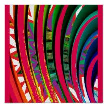 Abstract red Vertical Wave Graphic Poster