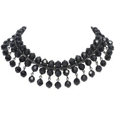 Preowned Black Jet Choker ($225) ❤ liked on Polyvore featuring jewelry, necklaces, choker, black, bead chain necklace, preowned jewelry, beaded choker necklace, chain necklaces and gatsby jewelry