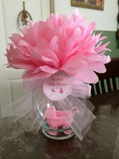 Easy to Make Baby Shower Decorations on a Budget - Coffee Filter Topiary Centerp. - Easy to Make Baby Shower Decorations on a Budget – Coffee Filter Topiary Centerpiece – – - Baby Shower Elegante, Idee Baby Shower, Mesas Para Baby Shower, Elegant Baby Shower, Shower Bebe, Baby Shower Favors, Baby Shower Themes, Baby Boy Shower, Baby Shower Gifts
