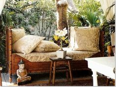 love this faux bamboo bench West Indies Decor, Bamboo Furniture, Cane Furniture, British Colonial Decor, Daybed Design, Asian Interior, Outdoor Living Rooms, Furniture Styles, Sunroom