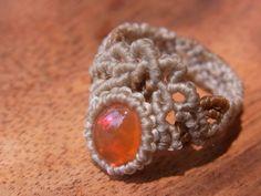 fire opal macrame ring Macrame Rings, Macrame Jewelry, Macrame Bracelets, Diy Jewelry, Macrame Dress, Micro Macramé, Diy Rings, Lace Making, Hippie Jewelry