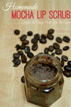 This easy and natural mocha lip scrub is a perfect gift or to make for yourself.