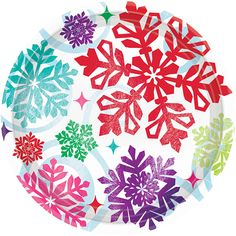 Bright Holiday Lunch Plates 9in 8ct | Wally's Party Supply Store