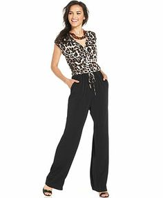 NY Collection Sleeveless Animal-Print Jumpsuit