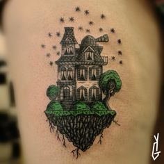 #Tattoo #Victorian_house #Rock_in_the_sky #Observatory #Stars