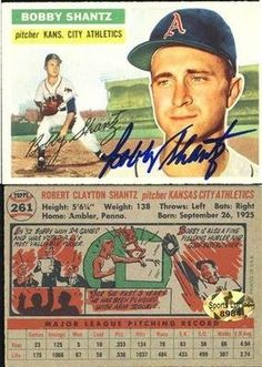 Bobby Shantz Kansas City A's Signed 1956 Topps Baseball Card #261 Vintage SL COA . $20.00. Kansas City A's PitcherBobby ShantzHand Signed 1956 Topps Baseball Trading Card # 261.GREAT AUTHENTIC BASEBALL COLLECTIBLE!!AUTOGRAPHS AUTHENTICATED BY SPORTS LOT WITH A NUMBERED SPORTS LOT AUTHENTICATION STICKER ON ITEM.SPORTS LOT COA # 8984