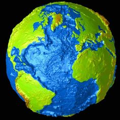 Global topography at 30 minute resolution is shown via a pseudo-colored, radially deformed surface