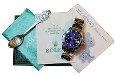 """Rolex - Ref. 16613 – Submariner in oro e acciaio venduto da Bucherer Zermatt.  Rolex, """"Oyster Perpetual Date, Submariner, 1000 ft /300 m, Superlative Chronometer Officially Certified. Realizzato nel 1992 circa. Orologio da polso da uomo cronometro subacqueo automatico, con secondi al centro, impermeabile, in acciaio inossidabile, con data e bracciale Oyster Fliplock Oyster in acciaio inossidabile e oro giallo18K. Splendido quadrante blu/viola."""