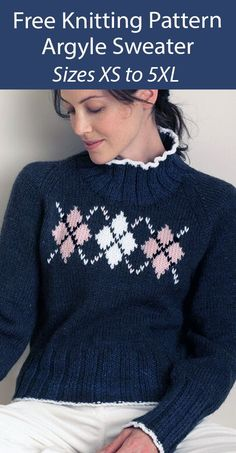 Sweater Knitting Pattern Argyle Pullover Jumper - Pullover sweater with Argyle diamond pattern on the front with ribbed color, cuffs, and extended hem. Sizes To Fit Bust: 71cm/28in to 157cm/62in, XS to 5XL Worsted weight yarn. Designed by Bernat.