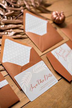 bronze wedding invites