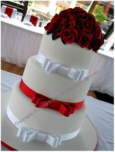 Red Roses Bouquet Wedding Cake, Elegant Wedding Cakes, Floral Wedding Cakes Sydney, Modern Wedding