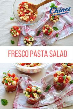 A perfect summer side just in time for Fourth of July! Fresh Pasta, Tomato Sauce, Bruschetta, Fourth Of July, Fresco, Pasta Salad, Vegan Vegetarian, Stuffed Peppers, Cooking