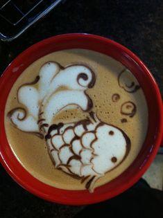 Koi fish latte art