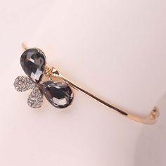 Wholesale Hot Sale 18k Gold Plated Butterfly Shape Crystal Bracelet Bangle For Women Charm Bracelet Free Shipping