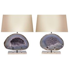 Pair of Natural Agate Lamps   From a unique collection of antique and modern table lamps at https://www.1stdibs.com/furniture/lighting/table-lamps/
