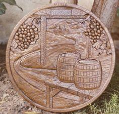 Custom Made Wine Cask Ends - Oak - Hand Carved