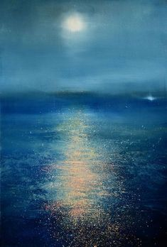 Moon glow painting by Maurice Sapiro in She used mainly blue oil colors in her painting just different shades. I really like this painting because of the reflection on the water. Painting Techniques, Painting Videos, Painting Inspiration, Painting & Drawing, Painting Trees, Moon Painting, Knife Painting, Landscape Paintings, Oil Paintings