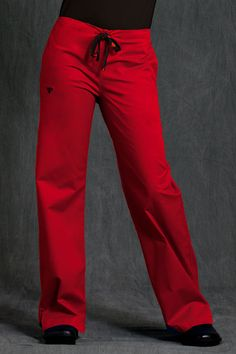 Med Couture Women  Signature Scrub Pant  Cherry/Black.  E-Z Flex stretch fabric for added fit. Subtle stitching for added fashion detail. Pen pockets, velcro accents and added invisible pockets inside of large pockets for added functionality. Fashion, function, and comfort all in one! A basic pair of drawstring pants from #Medcouture will keep you in comfort and style throughout your work shift.