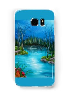 Galaxy Case,  blue,turquoise,cool,beautiful,fancy,unique,trendy,artistic,awesome,fahionable,unusual,accessories,for sale,design,items,products,gifts,presents,ideas,forest,river,nature,redbubble