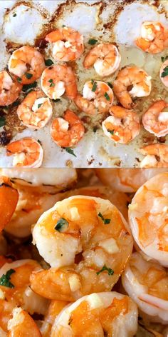 10 Minute Garlic Butter Baked Shrimp is an easy recipe for perfectly cooked, garlicky, buttery shrimp that is baked on a sheet pan in just 10 minutes! Cooked Shrimp Recipes, Shrimp Recipes For Dinner, Fish Recipes, Seafood Recipes, Cooking Recipes, Healthy Recipes, Raw Shrimp Recipe, Chinese Garlic Shrimp Recipe, Frozen Shrimp Recipes