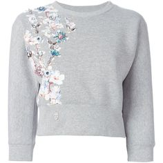 Philipp Plein Top of Sweatshirt (48,250 PHP) ❤ liked on Polyvore featuring tops, hoodies, sweatshirts, sweatshirt, sweaters, grey, sweatshirt crop top, grey crop top, embellished crop top and 3/4 sleeve crop top