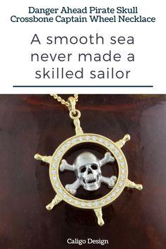14k Yellow Gold Pirate Ship Pendant 17mm x 25mm