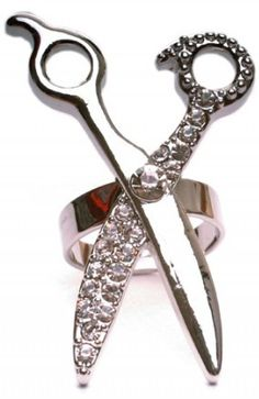 Rhinestone Embellished Scissors Ring