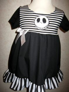 New Goth Baby Girls Black White Nightmare B4 Xmas Dress Headband Set Rock Punk | eBay
