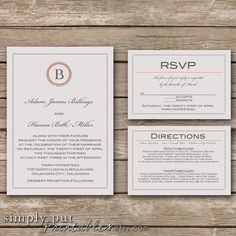 Gray Wedding Invitation Suite Simple Dots Invitaiton Initial Custom Color