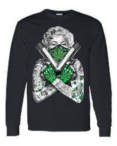Unisex Tattoo Marilyn Crossed Guns Weed Bandana Long Sleeve T-shirt!  Dibujos Camisetas b22d6108864