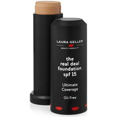 Laura Geller New York The Real Deal Foundation Stick Spf 15 ($29) ❤ liked on Polyvore featuring beauty products, makeup, face makeup, foundation, laura geller, laura geller foundation and spf foundation