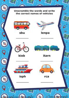 English for Kids Step by Step: Transport Song for Children Learning English For Kids, English Worksheets For Kids, English Activities, Word Games For Kids, Kids Songs, Kindergarten Literacy, Early Literacy, 2nd Grade Worksheets, Vocabulary Worksheets